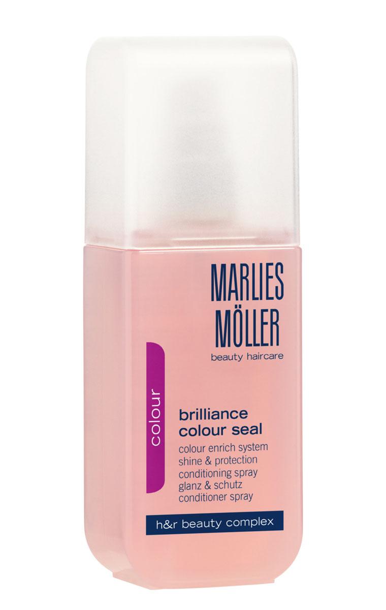 Marlies Moller Кондиционер-спрей Brilliance Colour, для окрашенных волос, 125 мл21014MMКондиционер-спрей - это несмываемый уход, альтернатива обычному смываемому кондиционеру. Несмываемое средство находится на волосах дольше, следовательно, работает эффективнее. Эффективно защищает волосы от солнца и выгорания. Предотвращает вымывание цвета. Дает интенсивный блеск без утяжеления. Укрепляет волосы от корней до самых кончиков. Восстанавливает внутреннюю структуру волоса, волосы гладкие, сияющие и эластичные. Облегчает расчесывание. Оказывает антистатический эффект. Мягкое средство без силиконов позволяет частое применение.После применения шампуня нанесите небольшое количество спрея на сухие или подсушенные полотенцем волосы по мере необходимости. Не смывайте.