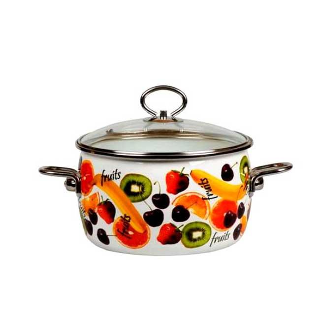 """Кастрюля Vitross """"Fruits"""" изготовлена на стальной основе со стеклокерамическим покрытием - наиболее безопасный вид посуды. Стеклокерамика инертна и устойчива к пищевым кислотам, не вступает во взаимодействие с продуктами и не искажает их вкусовые качества. Прочный стальной корпус обеспечивает эффективную тепловую обработку пищевых продуктов, не деформируется с процессе эксплуатации. Посуда """"Vitross"""" идеально подходит для тепловой обработки и хранения пищевых продуктов, приготовления холодных блюд и сервировки стола. Кастрюля оснащена двумя удобными ручками из нержавеющей стали. Крышка, выполненная из термостойкого стекла, позволит вам следить за процессом приготовления пищи. Крышка плотно прилегает к краю кастрюли, предотвращая проливание жидкости и сохраняя аромат блюд.Изделие подходит для всех типов плит, включая индукционные. Можно мыть в посудомоечной машине.  Это идеальный подарок для современных хозяек, которые следят за своим здоровьем и здоровьем своей семьи. Эргономичный дизайн и функциональность позволят вам наслаждаться процессом приготовления любимых, полезных для здоровья блюд. Характеристики:Материал: сталь, стекло, эмаль. Объем: 1,5 л. Внутренний диаметр: 17,5 см. Ширина с учетом ручек: 25 см. Высота с учетом крышки: 13,5 см. Высота стенки: 7 см. Толщина дна: 0,5 см. Производитель: Россия. Артикул: 8SD165S."""