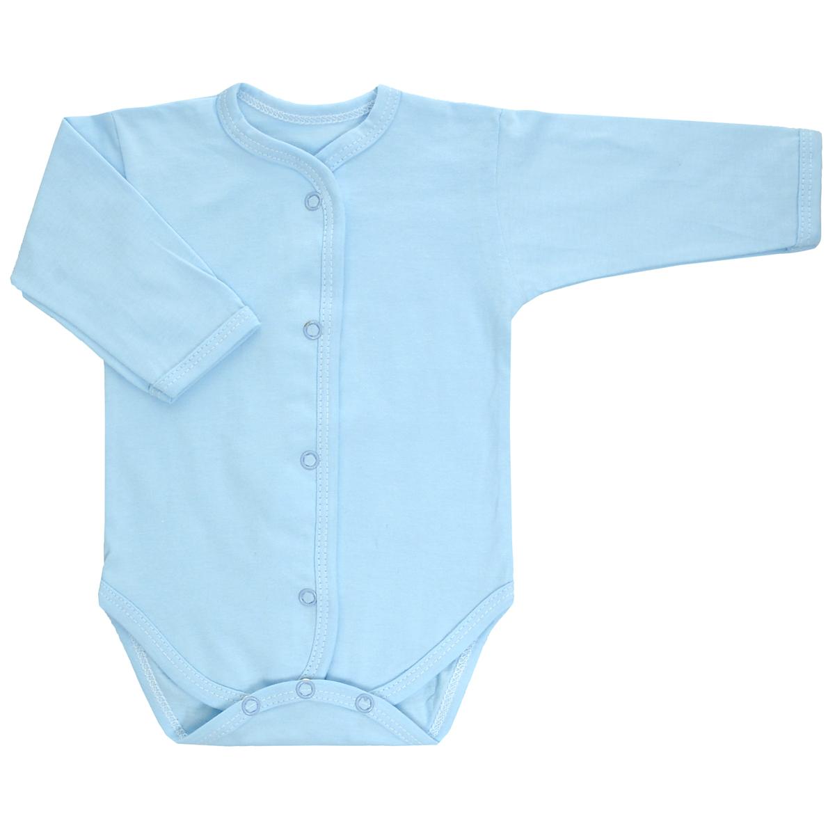 Боди детское Трон-Плюс, цвет: голубой. 5866. Размер 68, 6 месяцев5866Детское боди Трон-плюс с длинными рукавами послужит идеальным дополнением к гардеробу ребенка, обеспечивая ему наибольший комфорт. Изготовленное из кулирного полотна - натурального хлопка, оно необычайно мягкое и легкое, не раздражает нежную кожу ребенка и хорошо вентилируется, а эластичные швы приятны телу младенца и не препятствуют его движениям.Боди с длинными рукавами имеет удобные застежки-кнопки по всей длине и на ластовице, которые помогают легко переодеть ребенка или сменить подгузник.Боди полностью соответствует особенностям жизни малыша в ранний период, не стесняя и не ограничивая его в движениях!