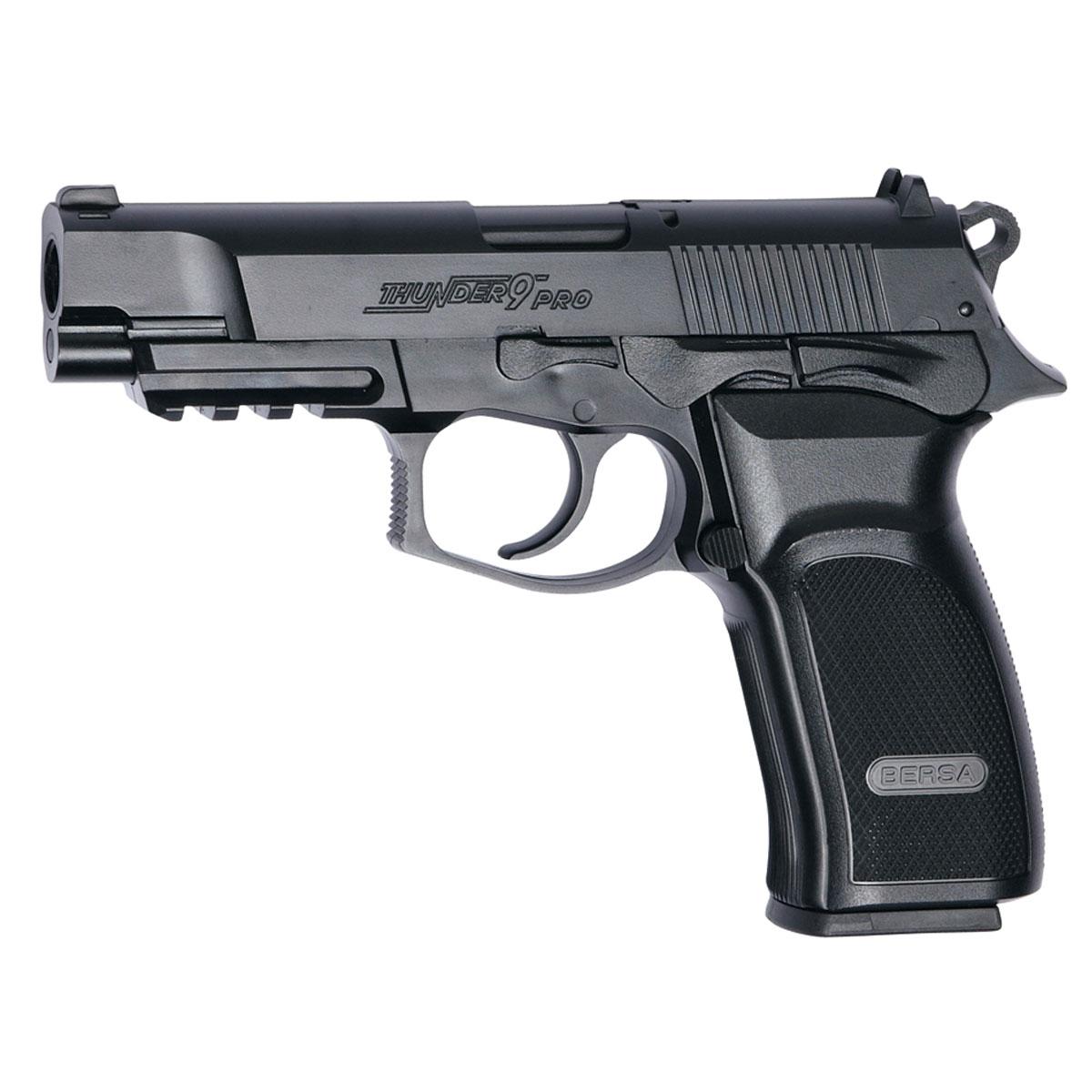 """Реплика пистолета Bersa Thunder 9 PRO. Это легчайший полноразмерный полуавтоматический пистолет с эргономичным дизайном, производимый по лицензии аргентинской компании Bersa. Стрельба самовзводом с высокой скоростью, планка """"Пикатинни"""" под стволом для крепления фонаря или ЛЦУ. При  выстреле производит звук,  напоминающий  хлопок  приоткрывании бутылки шампанского. На громкий звук огнестрельного выстрела он не похож. Для пневматических пистолетов прицельная дальность, стандартно, составляет 15-20 метров.Опасной считается дальность до 300 метров.Версия не-блоубэк (при выстреле """"затвор"""" остается неподвижным).Возврат  товара  возможен только при наличии заключения сервисного центра.Время работы сервисного центра: Пн-чт: 10.00-18.00Пт: 10.00- 17.00Сб, Вс: выходные дниАдрес: ООО """"ГАТО"""", 121471, г.Москва,  ул.  Петра  Алексеева,  д  12., тел. (495)232-4670, gato@gato.ru"""