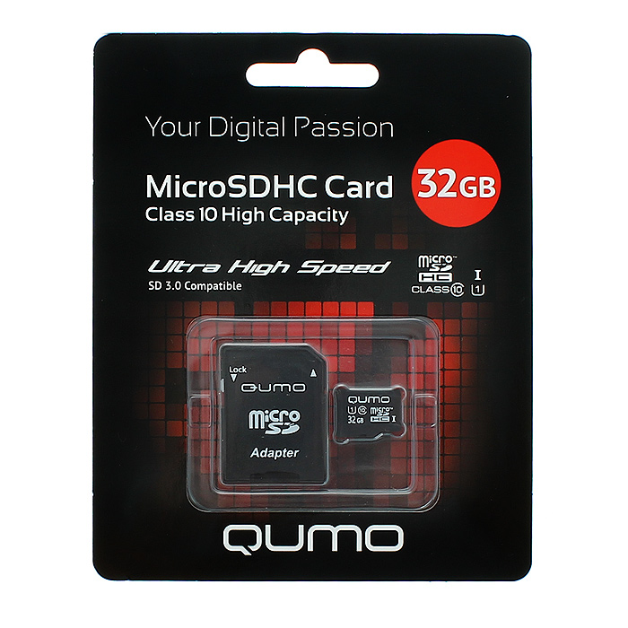 QUMO microSDHC Class 10 UHS-I 32GB карта памяти + адаптер SDQM32GMICSDHC10U1Скоростная карта памяти Qumo microSDHC/microSDXC Class 10 UHS-I позволяет осуществлять расширение памяти цифровых плееров, цифровых фотоаппаратов и видеокамер, коммуникаторов, смартфонов, интернет планшетов и других совместимых устройств. Class 10 в сочетании сUHS-I (Ultra High Speed) обеспечивают сверхвысокую скорость чтения/записи. Кроме того, карты памяти Qumo являются качественным решением для хранения и переноса различного рода информации, такой как, музыкальный файлы, фотографии, электронные документы и другие важные для вас файлы.Внимание: перед оформлением заказа, убедитесь в поддержке вашим электронным устройством карт памяти данного объема.