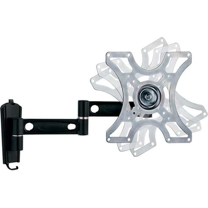 Kromax Galactic-9, Black кронштейн для ТВ20021Выполненный из высококачественного алюминия и стали наклонный кронштейн Kromax Galactic-9 идеален для установки LCD/LED телевизоров и мониторов средних размеров с диагональю экрана от 15 до 40 дюймов. Крепление позволяет регулировать углы наклона, поворота, а также вращать экран в вертикальной плоскости на 360° (принцип 3D-вращения). Кронштейн Galactic позволяет располагать панель телевизора как угодно разнообразно. Расстояние от стены регулируется в широком диапазоне. Специальные пластиковые кольца позволяют эстетично зафиксировать электрический и телевизионный кабели. Для удобства монтажа в конструкции крепления предусмотрен водяной уровень, который вмонтирован в монтажную пластину, закрепляемую на стене. Оригинальная система фиксации дает возможность без особых усилий производить установку и демонтаж телевизионной панели. Кронштейн с множеством степеней свободы рекомендуется использовать в случае необходимости просмотра с нескольких точек или когда геометрия помещения, либо расположение окон затрудняют установку телевизора.