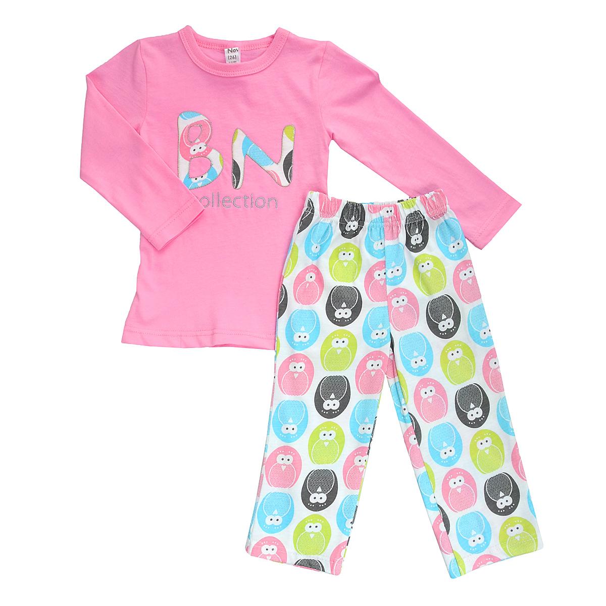 Фото - Пижама для девочки Bossa Nova, цвет: белый, розовый, с пингвинами. 381Б-161. Размер 74/80, 9-12 месяцев пижамы и ночные сорочки bossa nova пижама джемпер и брюки для девочки супергерои 356б 161