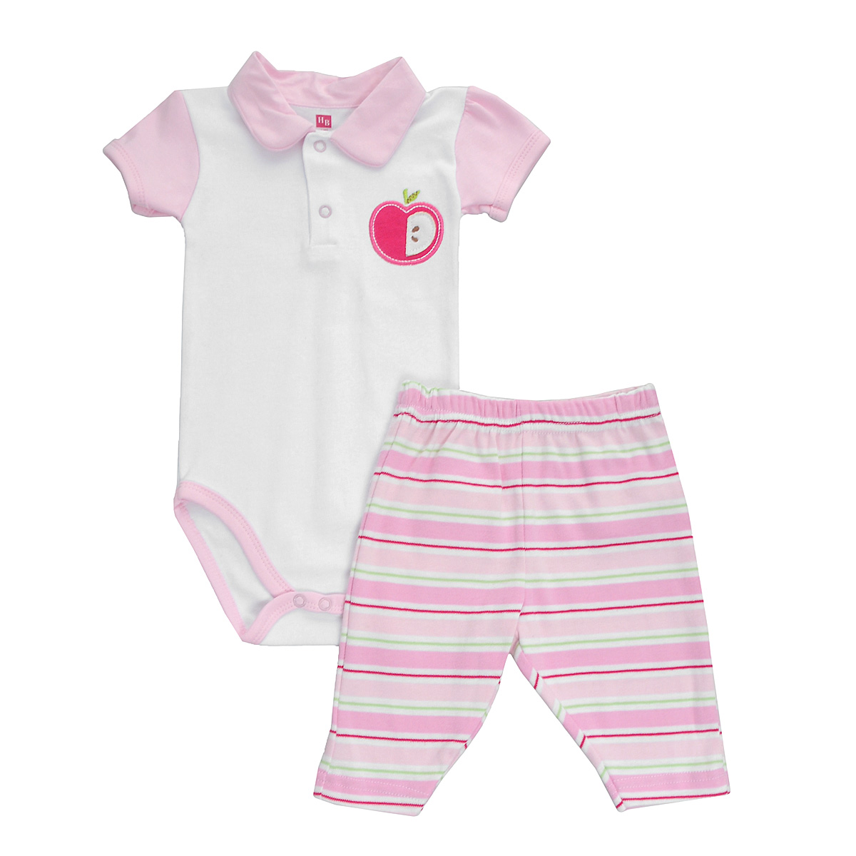Комплект для девочки Hudson Baby Яблоко: боди-поло, штанишки, цвет: белый, розовый. 50340. Размер 67/72, 6-9 месяцев