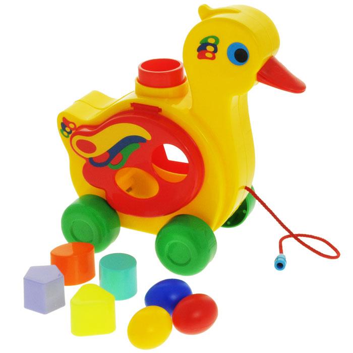 """Игрушка-каталка Полесье """"Уточка-несушка"""", цвет: желтый, зеленый, красный"""