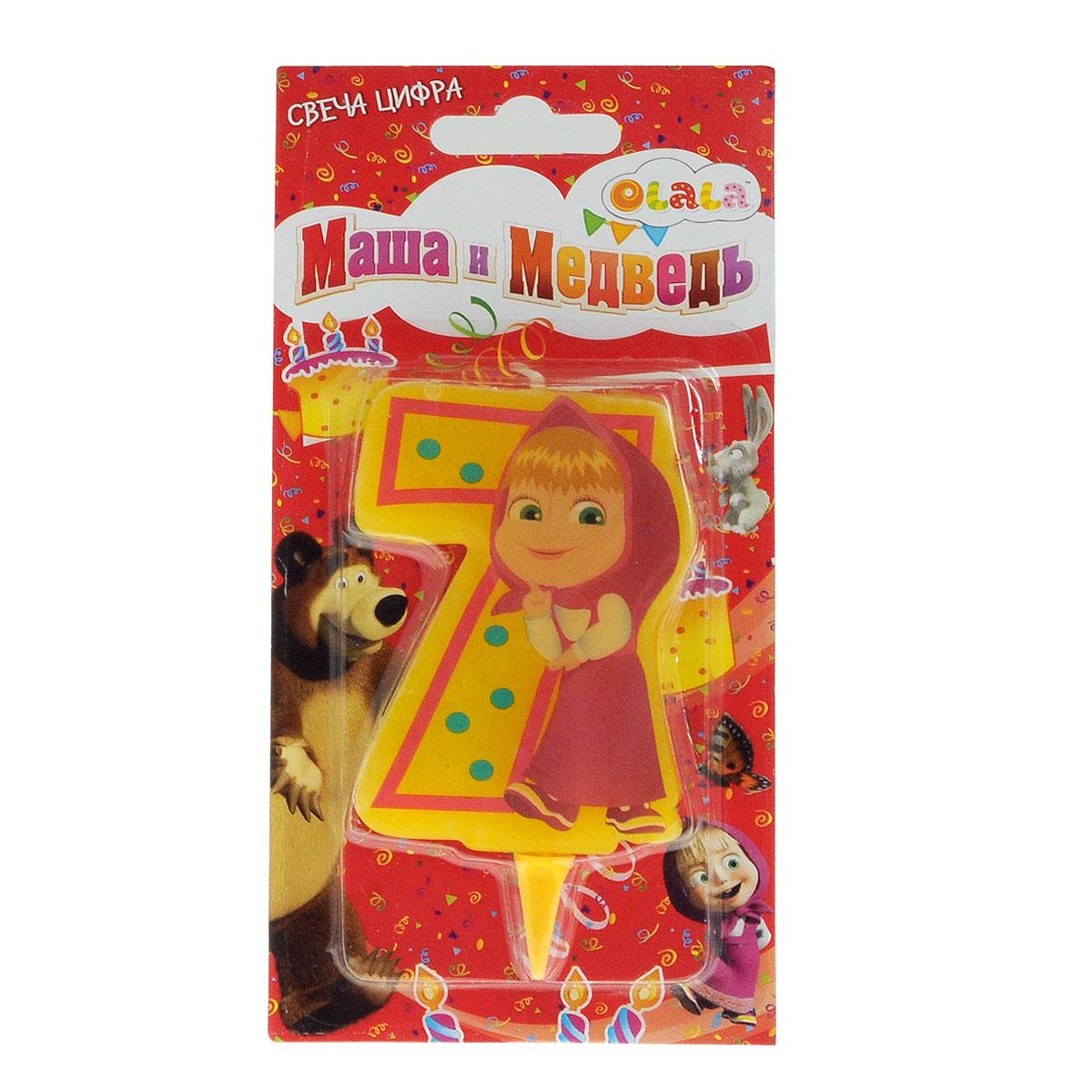 Свеча-цифра для торта Маша и медведь 7, цвет: желтый