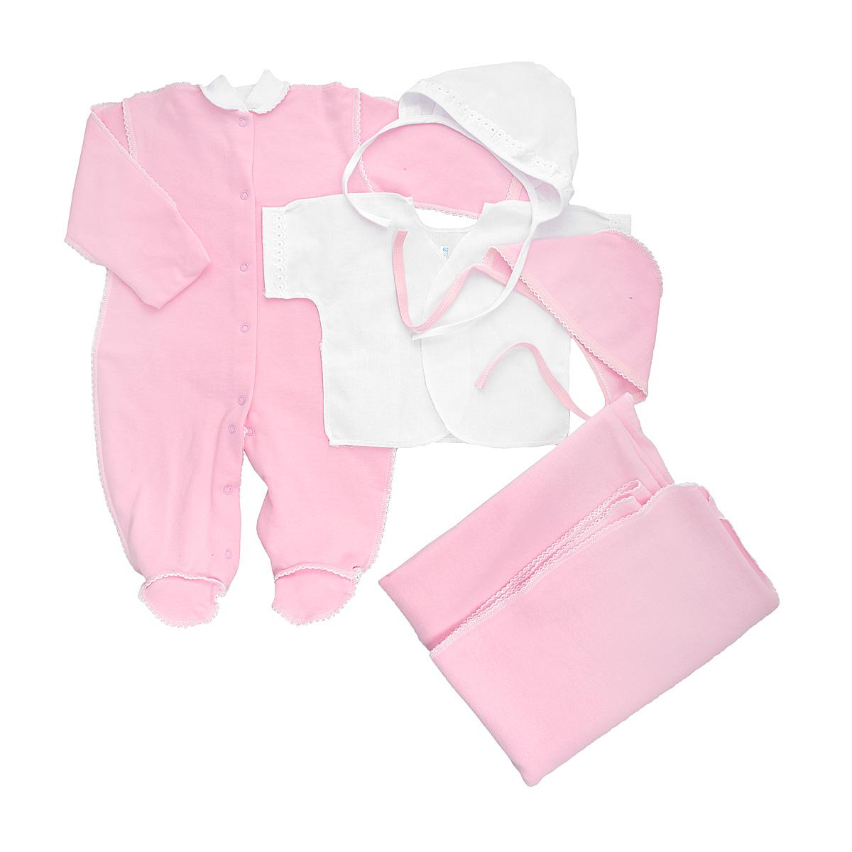 Комплект для новорожденного Трон-Плюс, 5 предметов, цвет: белый, розовый. 3474. Размер 56, 1 месяц3474Комплект для новорожденного Трон-плюс - это замечательный подарок, который прекрасно подойдет для первых дней жизни малыша. Комплект состоит из комбинезона, распашонки, двух чепчиков и пеленки. Комплект изготовлен из натурального хлопка, благодаря чему он необычайно мягкий и приятный на ощупь, не сковывает движения младенца и позволяет коже дышать, не раздражает даже самую нежную и чувствительную кожу ребенка, обеспечивая ему наибольший комфорт. Легкая распашонка с короткими рукавами выполнена швами наружу. Рукава декорированы ажурными рюшами. Теплый комбинезон с небольшим воротничком-стойкой, длинными рукавами и закрытыми ножками идеально подойдет вашему ребенку, обеспечивая ему наибольший комфорт. Комбинезон застегивает на кнопочки по всей длине и на ластовице, что помогает с легкостью переодеть ребенка или сметить подгузник. Рукавички обеспечат вашему малышу комфорт во время сна и бодрствования, предохраняя нежную кожу новорожденного от расцарапывания. Комбинезон выполнен швами наружу и украшен ажурными петельками. Чепчик защищает еще не заросший родничок, щадит чувствительный слух малыша, прикрывая ушки, и предохраняет от теплопотерь. Комплект содержит два чепчика: один - легкий мягкий чепчик с завязками выполнен швами наружу и украшен ажурными рюшами, а второй - теплый чепчик выполнен из футера швами наружу и украшен ажурными петельками. Теплая и мягкая пеленка станет незаменимым помощником в деле ухода за ребенком. По периметру изделие оформлено ажурными петельками. В таком комплекте ваш малыш будет чувствовать себя комфортно, уютно и всегда будет в центре внимания!