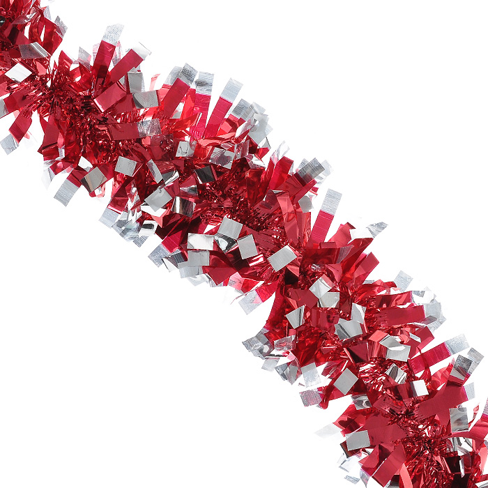 Новогодняя мишура Magic Time, диаметр 9 см, длина 200 см, цвет: красный, серебристый. 2696326963Яркая новогодняя мишура Magic Time, выполненная из ПВХ, поможет вам реализовать самые экстравагантные дизайнерские идеи, украсив стены, потолок, архитектурные элементы, проемы окон и дверей. Мишура армирована, то есть имеет проволоку внутри и способна сохранять приданную ей форму. Она способна отразить блеск огней елочных гирлянд и добавить волшебства в праздничный интерьер квартиры. Создайте в своем доме атмосферу тепла, веселья и радости, украшая его всей семьей. Характеристики:Материал: ПВХ. Цвет: красный, серебристый. Длина: 200 см. Диаметр: 9 см. Артикул: 26963.