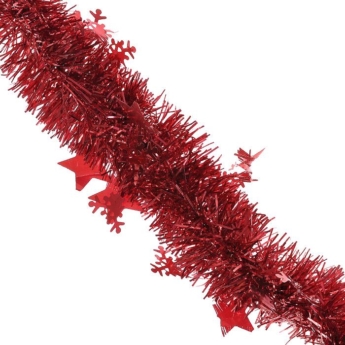 Новогодняя мишура Magic Time, диаметр 6 см, длина 200 см, цвет: красный. 2697326973Пушистая новогодняя мишура Magic Time, выполненная из ПВХ, усыпанная звездочками и снежинками, поможет вам реализовать самые экстравагантные дизайнерские идеи, украсив стены, потолок, архитектурные элементы, проемы окон и дверей. Мишура армирована, то есть имеет проволоку внутри и способна сохранять приданную ей форму. Она способна отразить блеск огней елочных гирлянд и добавить волшебства в праздничный интерьер квартиры. Создайте в своем доме атмосферу тепла, веселья и радости, украшая его всей семьей. Характеристики:Материал: ПВХ. Цвет: красный. Длина: 200 см. Диаметр: 6 см. Артикул: 26973.