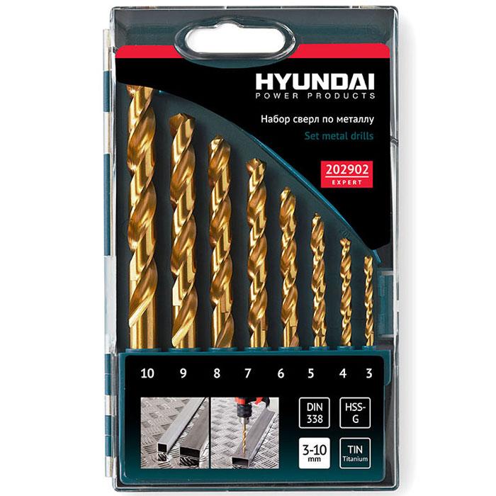 Hyundai набор сверл HSS-G TIN DIN338 по металлу, 8 шт202902Универсальный набор Hyundai 202902 из 8 сверл различного размера для сверления металла и стали. Сверла изготовлены из быстрорежущей высокоскоростной стали HSS-G и покрыты нитридом титана TIN для увеличения ресурса. Наконечники свёрл имеют двухгранную заточку с углом в 115 градусов. Спирали свёрл дополнительно ошлифованы и заточены.