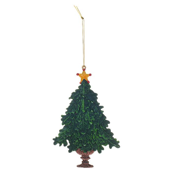 Новогоднее подвесное украшение Елочка, цвет: зеленый. 2587825878Оригинальное новогоднее украшение выполнено из пластика в виде елочки со звездой на верхушке. С помощью специальной петельки украшение можно повесить в любом понравившемся вам месте. Но, конечно же, удачнее всего такая елочка будет смотреться на праздничной елке.Новогодние украшения приносят в дом волшебство и ощущение праздника. Создайте в своем доме атмосферу веселья и радости, украшая всей семьей новогоднюю елку нарядными игрушками, которые будут из года в год накапливать теплоту воспоминаний. Коллекция декоративных украшений из серии Magic Time принесет в ваш дом ни с чем несравнимое ощущение волшебства! Характеристики:Материал: пластик, блестки, текстиль. Цвет: зеленый. Размер украшения: 10 см х 1 см х 15 см. Артикул: 25878.