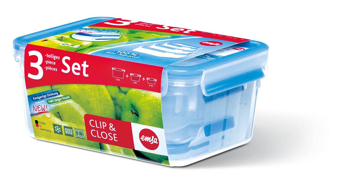 Набор пластиковых контейнеров Emsa Clip&Close: 0,55 л, 1 л, 2,3 л. 508566508566Набор прямоугольных контейнеров Emsa Clip&Close, изготовленный из пищевого пластика, предназначен специально для хранения пищевых продуктов. В набор входят три контейнера емкостью 0,55 л, 1 л и 2,3 л.Крышки контейнеров легко открываются и плотно закрываются. Контейнеры устойчивы к воздействию масел и жиров, легко моются (можно мыть в посудомоечной машине). Прозрачные стенки позволяют видеть содержимое. Подходят для использования в микроволновых печах. Контейнеры имеют возможность хранения продуктов глубокой заморозки, в целом их температурный режим применения находится в диапазоне от -20°С до +110°С. Контейнера обладают высокой прочностью. Характеристики: Материал: полипропилен. Размер контейнера 2,3 л (с крышкой): 21 см х 16 см х 10 см. Размер контейнера 1 л (с крышкой): 19 см х 14 см х 8 см. Размер контейнера 0,55 л (с крышкой): 17 см х 12 см х 6 см. Объем контейнеров:0,55 л; 1 л; 2,3 л. Комплектация: 3 шт. Артикул: 508556.
