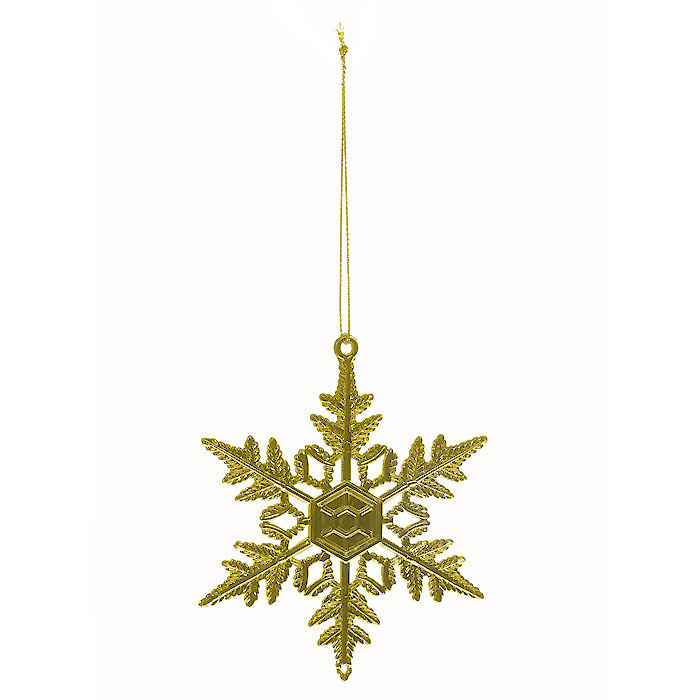 Новогоднее подвесное украшение Снежинка, цвет: золотистый. 3070630706Оригинальное новогоднее украшение Снежинка, выполненное из пластика золотистого цвета, прекрасно подойдет для оформления дома и праздничной ели. С помощью специальной петельки украшение можно повесить в любом понравившемся вам месте. Но, конечно, удачнее всего такая игрушка будет смотреться на праздничной елке.Елочная игрушка - символ Нового года. Она несет в себе волшебство и красоту праздника. Создайте в своем доме атмосферу веселья и радости, украшая новогоднюю елку нарядными игрушками, которые будут из года в год накапливать теплоту воспоминаний.Коллекция декоративных украшений из серии Magic Time принесет в ваш дом ни с чем несравнимое ощущение волшебства! Характеристики:Материал: пластик, текстиль. Цвет: золотистый. Размер украшения: 10,5 см х 9 см. Артикул: 30706.