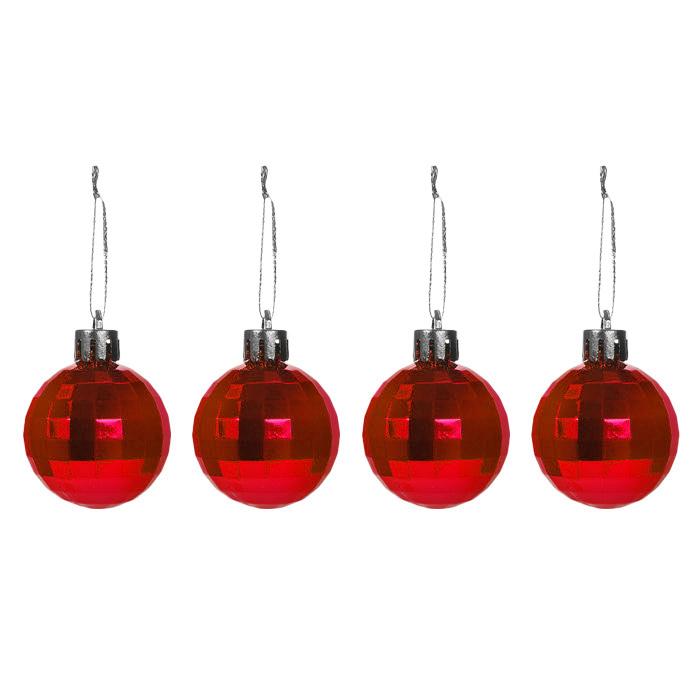 Новогоднее подвесное украшение Шар, цвет: красный, 4 шт32313Новогоднее подвесное украшение «Шар» прекрасно подойдет для декора дома и праздничной елки. В наборе 4 игрушки, выполненные из пластика красного цвета. С помощью специальных петелек украшения можно повесить в любом понравившемся вам месте. Но, конечно, удачнее всего такие игрушки будут смотреться на праздничной елке. Елочная игрушка - символ Нового года. Она несет в себе волшебство и красоту праздника. Создайте в своем доме атмосферу веселья и радости, украшая новогоднюю елку нарядными игрушками, которые будут из года в год накапливать теплоту воспоминаний. Коллекция декоративных украшений из серии Magic Time принесет в ваш дом ни с чем несравнимое ощущение волшебства! Характеристики:Материал: пластик, текстиль. Цвет: красный. Комплектация: 4 шт. Диаметр игрушки: 4 см. Размер упаковки: 7,5 см х 7,5 см х 3,5 см. Артикул: 32313.