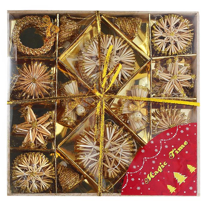 Набор новогодних подвесных украшений Звездочки и снежинки, цвет: желтый, 48 шт25223Оригинальный новогодний набор «Звездочки и снежинки» прекрасно подойдет для декора дома и праздничной елки. Набор состоит из 48 подвесных украшений, выполненных из натуральной соломы желтого цвета в виде звездочек, снежинок, рождественских венков и ангелочков. Предметы набора покрыты лаком и оформлены глиттером (золотистыми блестками). С помощью специальных петелек украшения можно повесить в любом понравившемся вам месте. Но, конечно, удачнее всего такие игрушки будут смотреться на праздничной елке. Украшения из натуральной соломы сейчас находятся на пике моды. Но мало кто знает, что, на самом деле, модное веяние является ничем иным, как хорошо забытым атрибутом рождественских праздников стран раннехристианской Европы. Солома напоминала о яслях, в которых лежал младенец Иисус. Из нее мастерили праздничных куколок, короны, пирамиды и просто рассыпали по полу. Новогодние украшения приносят в дом волшебство и ощущение праздника. Создайте в своем доме атмосферу веселья и радости, украшая всей семьей новогоднюю елку нарядными игрушками, которые будут из года в год накапливать теплоту воспоминаний. Коллекция декоративных украшений из серии Magic Time принесет в ваш дом ни с чем несравнимое ощущение волшебства! Набор упакован в деревянную коробку, перевязанную золотистой лентой. Характеристики:Материал: натуральная солома, текстиль, блестки. Цвет: желтый. Комплектация: 48 шт. Диаметр снежинки: 5 - 8 см. Размер звездочки: 5,5 см х 6 см. Высота ангелочка: 5,5 см. Размер упаковки: 27 см х 27 см х 3 см. Артикул: 25223.