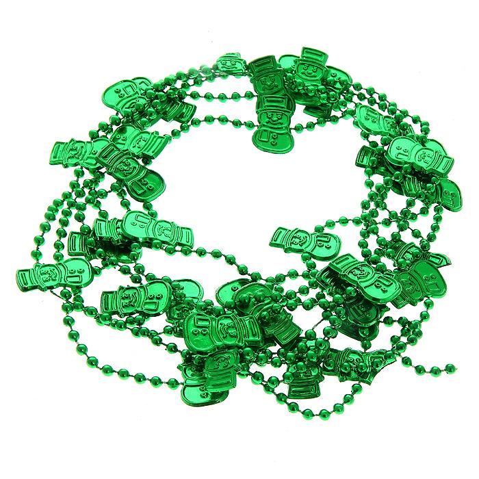 Новогодняя гирлянда Бусы, цвет: зеленый, 2,7 м. 3076430764Оригинальная новогодняя гирлянда «Бусы», изготовленная из пластика зеленого цвета, прекрасно подойдет для декора дома и праздничной ели. Бусины выполнены в виде снеговиков. Вы можете повесить гирлянду в любое понравившееся место. Но, конечно, удачнее всего она будет смотреться на новогодней елке.Новогодние украшения несут в себе волшебство и красоту праздника. Они помогут вам украсить дом к предстоящим праздникам и оживить интерьер по вашему вкусу. Создайте в своем доме атмосферу веселья и радости, украшая новогоднюю елку всей семьей. Коллекция декоративных украшений из серии Magic Time принесет в ваш дом ни с чем несравнимое ощущение волшебства! Характеристики:Материал: пластик. Цвет: зеленый. Длина гирлянды: 2,7 м. Размер фигурки снеговика: 1,5 см х 2,5 см. Размер упаковки: 9 см х 26 см х 3 см. Артикул: 30764.