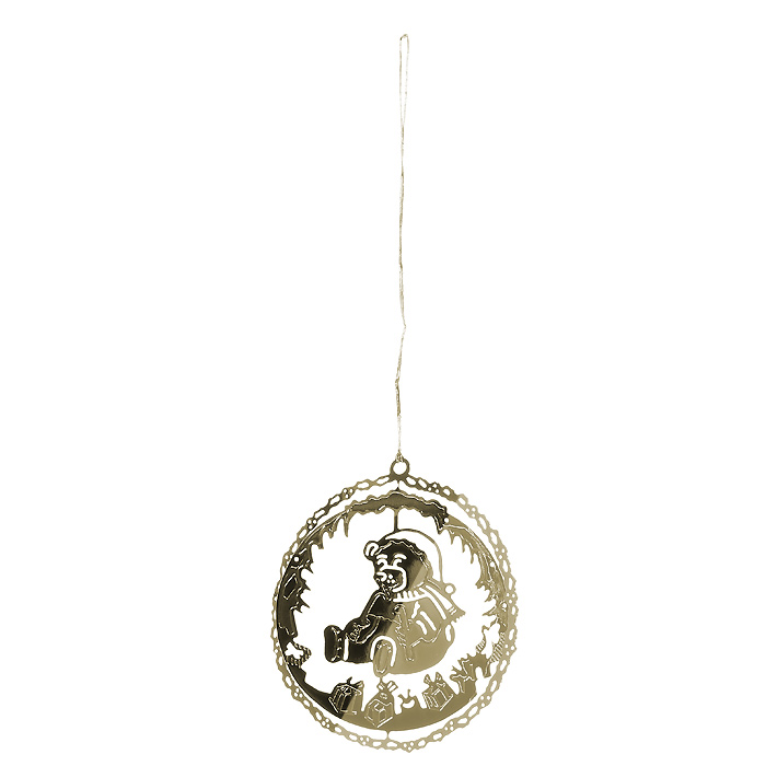 Новогоднее подвесное украшение Медвежонок, цвет: золотистый. 3162431624Оригинальное новогоднее украшение «Медвежонок» прекрасно подойдет для праздничного декора вашего дома и новогодней ели. Украшение выполнено из черного металла, окрашенного золотистой краской, и оформлено перфорацией в виде медвежонка. С помощью текстильной петельки изделие можно повесить в любое понравившееся место. Но, конечно, удачнее всего оно будет смотреться на новогодней елке.Елочная игрушка - символ Нового года. Она несет в себе волшебство и красоту праздника. Создайте в своем доме атмосферу веселья и радости, украшая новогоднюю елку нарядными игрушками, которые будут из года в год накапливать теплоту воспоминаний. Характеристики:Материал: металл, текстиль. Цвет: золотистый. Диаметр украшения: 5 см. Размер упаковки: 6,5 см х 8 см х 2,5 см. Артикул: 31624.