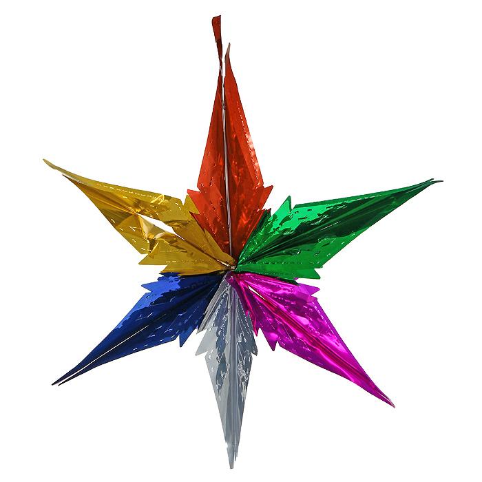 Новогодняя гирлянда Magic Time, цвет: мульти. 3096530965Новогодняя гирлянда «Magic Time» прекрасно подойдет для декора дома и праздничной елки. Украшение выполнено из разноцветной металлизированной фольги в виде звезды. С помощью специальной петельки его можно повесить в любом понравившемся вам месте. Легко складывается и раскладывается.Новогодние украшения несут в себе волшебство и красоту праздника. Они помогут вам украсить дом к предстоящим праздникам и оживить интерьер по вашему вкусу. Создайте в доме атмосферу тепла, веселья и радости, украшая его всей семьей. Коллекция декоративных украшений из серии Magic Time принесет в ваш дом ни с чем несравнимое ощущение волшебства! Характеристики:Материал: металлизированная фольга (ПВХ). Цвет: мульти. Высота украшения: 56 см.Размер упаковки: 16 см х 33 см х 0,5 см. Артикул: 30965.