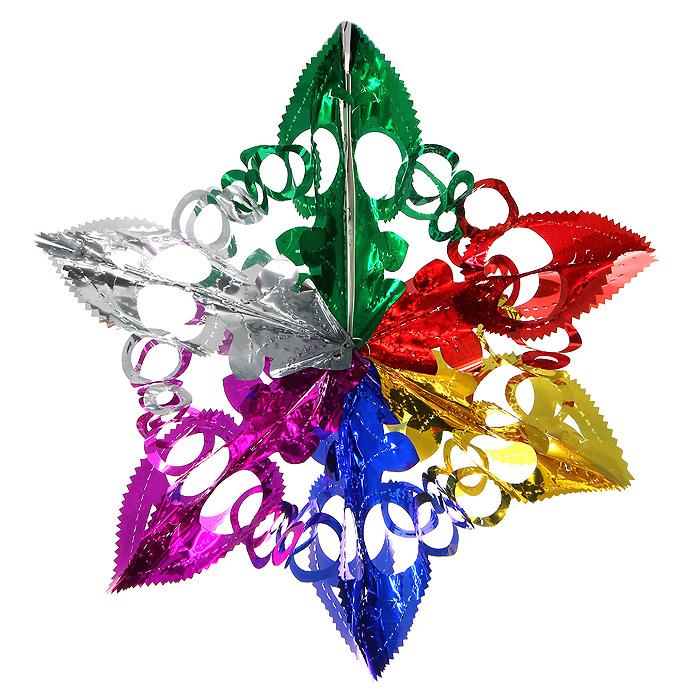 Новогодняя гирлянда Magic Time, цвет: мульти. 3096930969Новогодняя гирлянда «Magic Time» прекрасно подойдет для декора дома и праздничной елки. Украшение выполнено из разноцветной металлизированной фольги в виде звезды. С помощью специальной петельки его можно повесить в любом понравившемся вам месте. Легко складывается и раскладывается. Новогодние украшения несут в себе волшебство и красоту праздника. Они помогут вам украсить дом к предстоящим праздникам и оживить интерьер по вашему вкусу. Создайте в доме атмосферу тепла, веселья и радости, украшая его всей семьей.Коллекция декоративных украшений из серии Magic Time принесет в ваш дом ни с чем несравнимое ощущение волшебства! Характеристики:Материал: металлизированная фольга (ПВХ). Цвет: мульти. Высота украшения: 38 см.Размер упаковки: 12 см х 24 см х 0,5 см. Артикул: 30969.