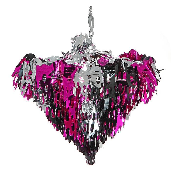 Новогоднее украшение Люстра, цвет: розовый, серебристый. 2037220372Новогоднее украшение «Люстра» прекрасно подойдет для декора дома или офиса. Украшение выполнено из металлизированной фольги розового и серебристого цвета. Его можно повесить в любом понравившемся вам месте. Легко складывается и раскладывается.Новогодние украшения несут в себе волшебство и красоту праздника. Они помогут вам украсить дом к предстоящим праздникам и оживить интерьер по вашему вкусу. Создайте в доме атмосферу тепла, веселья и радости, украшая его всей семьей. Коллекция декоративных украшений из серии Magic Time принесет в ваш дом ни с чем несравнимое ощущение волшебства! Характеристики:Материал: металлизированная фольга (ПВХ), пластик. Цвет: розовый, серебристый. Высота украшения: 32 см. Размер упаковки: 19 см х 37 см х 3 см. Артикул: 20372.