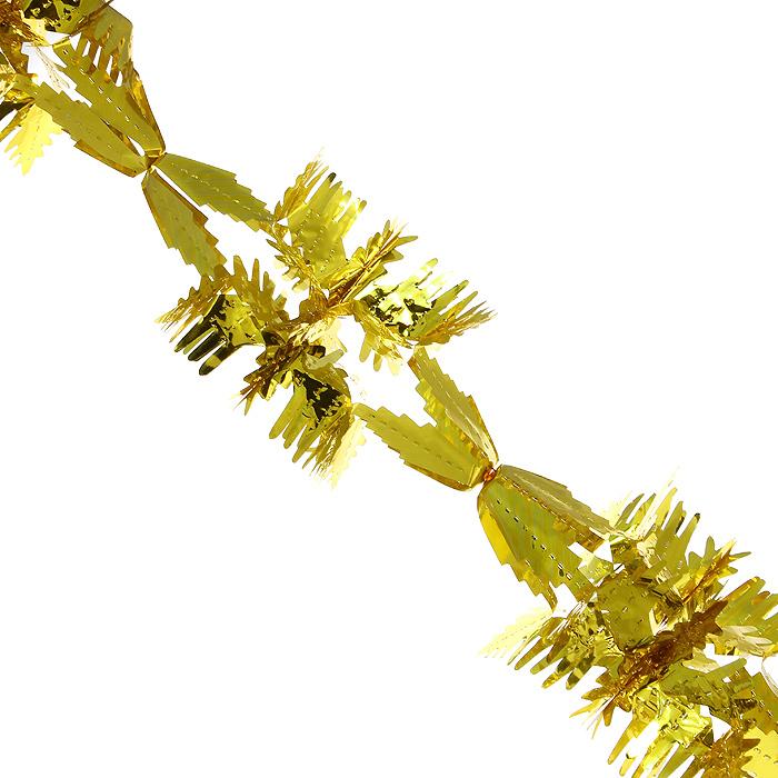 Новогодняя гирлянда Magic Time, цвет: золотистый, 2,5 м. 3164930515Новогодняя гирлянда «Magic Time» прекрасно подойдет для декора дома или офиса. Украшение выполнено из металлизированной фольги золотистого цвета. С помощью специальных петелек его можно повесить в любом понравившемся вам месте. Легко складывается и раскладывается. Новогодние украшения несут в себе волшебство и красоту праздника. Они помогут вам украсить дом к предстоящим праздникам и оживить интерьер по вашему вкусу. Создайте в доме атмосферу тепла, веселья и радости, украшая его всей семьей.Коллекция декоративных украшений из серии Magic Time принесет в ваш дом ни с чем несравнимое ощущение волшебства! Характеристики:Материал: металлизированная фольга (ПВХ). Цвет: золотистый. Длина гирлянды: 2,5 м.Размер гирлянды (в собранном виде): 19,5 см х 19,5 см. Размер упаковки: 25 см х 20 см х 1 см. Артикул: 31649.