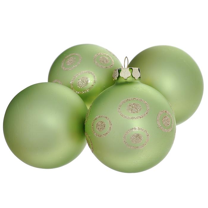 Набор новогодних подвесных украшений, 4 шт. 3055530555В набор входят четыре стеклянные елочные игрушки в виде шара зеленого цвета одинакового размера, два из которых декорированы золотистыми блестками. Игрушки без петельки для подвешивания. Оригинальный дизайн и красочное исполнение изделий создадут праздничное настроение. Новогодние украшения всегда несут в себе волшебство и красоту праздника. Создайте в своем доме атмосферу тепла, веселья и радости, украшая его всей семьей. Характеристики:Материал: стекло, блестки. Цвет: зеленый. Размер украшения: 6,5 см х 6 см х 6 см. Размер упаковки: 15 см х 15 см х 7 см. Артикул: 30555.