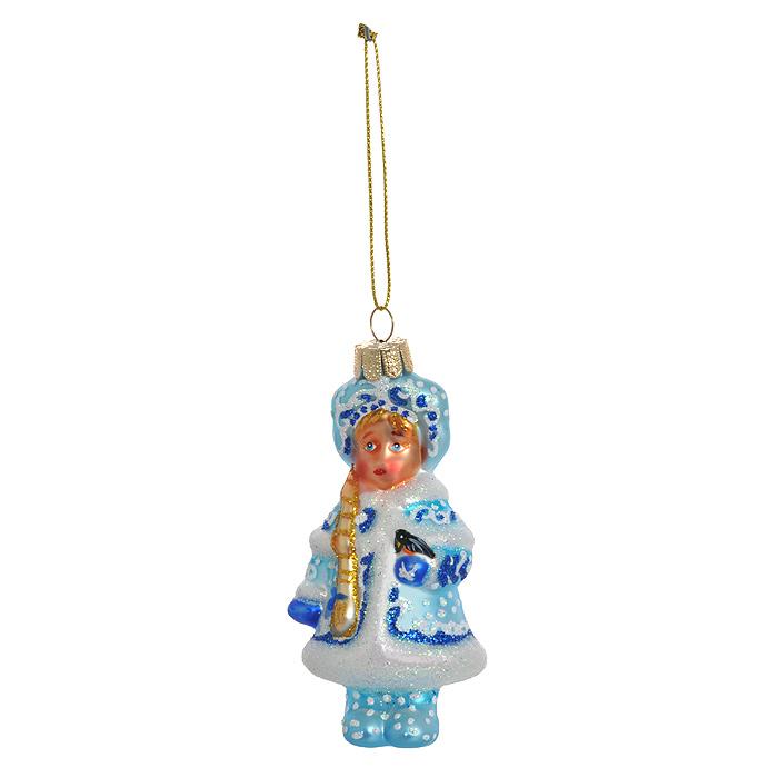 Новогоднее подвесное украшение Снегурочка. 2631726317Новогоднее подвесное украшение Снегурочка, выполненное из стекла и декорированное блестками, украсит интерьер вашего дома или офиса в преддверии Нового года. С помощью специальной петельки украшение можно повесить в любом понравившемся вам месте. Но, конечно, удачнее всего такая игрушка будет смотреться на праздничной елке. Оригинальный дизайн и красочное исполнение создадут праздничное настроение. Новогодние украшения всегда несут в себе волшебство и красоту праздника. Создайте в своем доме атмосферу тепла, веселья и радости, украшая его всей семьей. Характеристики:Материал: стекло, текстиль, блестки. Размер украшения (Д х Ш х В): 5 см х 4 см х 9,5 см. Артикул: 26317.