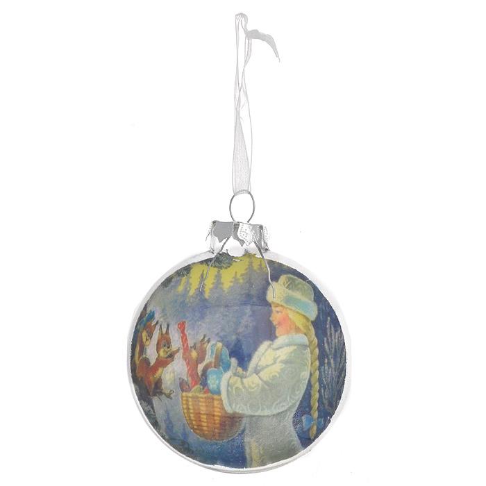 """Круглое объемное новогоднее украшение """"Снегурочка"""" выполнено из стекла, внутренняя стенка которого декорирована очаровательным изображением снегурочки. С помощью специальной петельки украшение можно повесить в любом понравившемся вам месте. Но, конечно, удачнее всего такая игрушка будет смотреться на праздничной елке.    Новогодние украшения приносят в дом волшебство и ощущение праздника. Создайте в своем доме атмосферу веселья и радости, украшая всей семьей новогоднюю елку нарядными игрушками, которые будут из года в год накапливать теплоту воспоминаний.  Коллекция декоративных украшений из серии """"Magic Time"""" принесет в ваш дом ни с чем несравнимое ощущение волшебства! Характеристики:  Материал: стекло, текстиль. Размер украшения: 7,5 см х 7,5 см х 8,5 см. Артикул: 30531."""