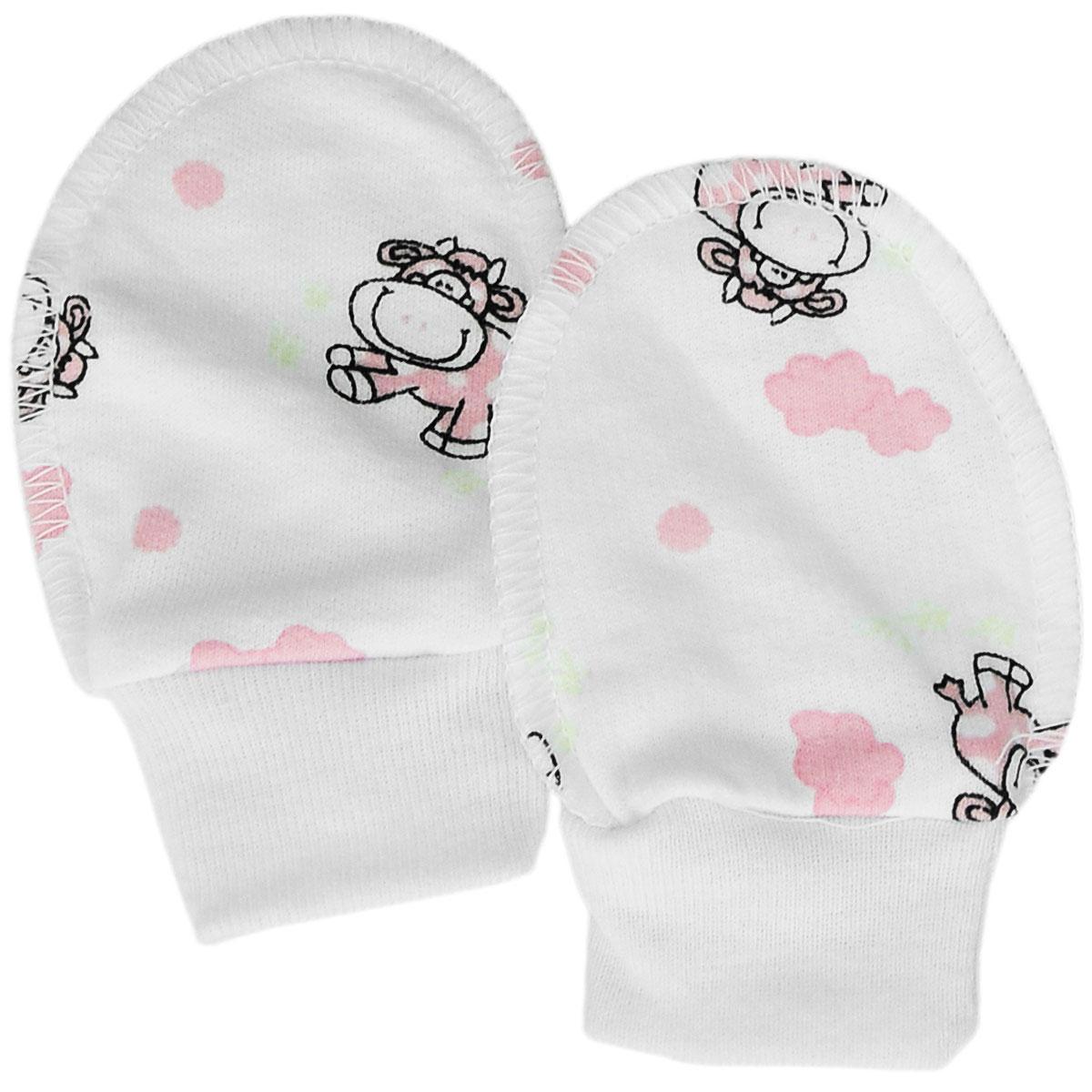 Рукавички для новорожденного Трон-Плюс, цвет: белый, розовый, рисунок коровы. 5907. Размер 62, 3 месяца5907Теплые рукавички для новорожденного Трон-плюс обеспечат вашему младенцу комфорт во время сна и бодрствования, предохраняя его нежную кожу от расцарапывания. Широкие эластичные манжеты не будут пережимать ручку. Изготовленные из натурального хлопка, они необычайно мягкие и легкие, не раздражают нежную кожу ребенка и хорошо вентилируются, а эластичные швы, выполненную наружу, обеспечивают максимальный комфорт ребенку и не препятствуют его движениям.Рукавички сделают сон вашего малыша спокойным и безопасным.