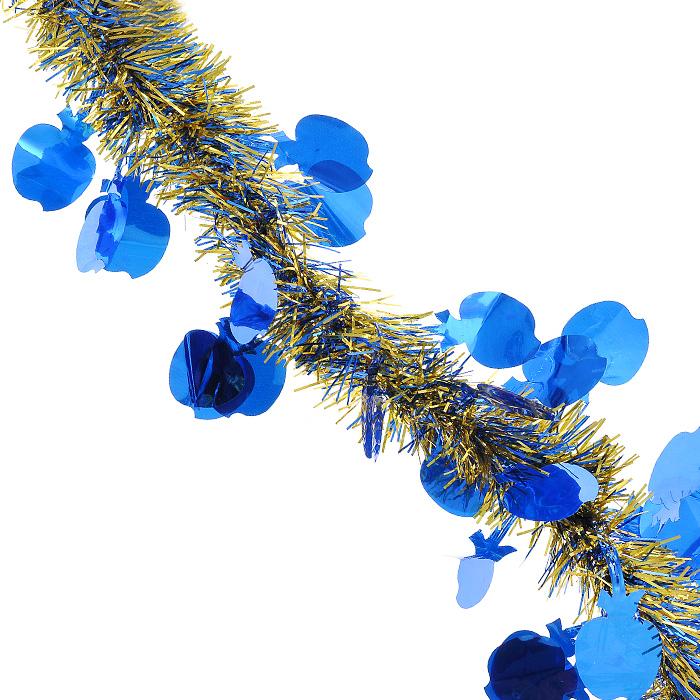 Новогодняя мишура Magic Time, диаметр 5 см, длина 200 см, цвет: синий, золотистый. 26936 мишура новогодняя magic time цвет золотистый диаметр 6 см длина 200 см 75763