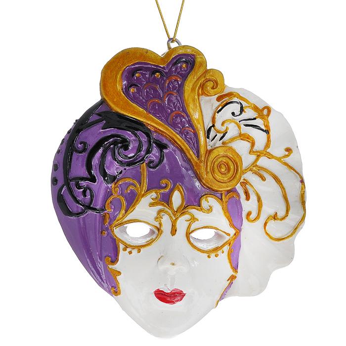 Новогоднее подвесное украшение Маска. 3048230482Изящное новогоднее украшение Маска выполнено из полирезины в виде венецианской маски. С помощью специальной текстильной петельки украшение можно повесить в любом понравившемся вам месте. Но, конечно, удачнее всего такая игрушка будет смотреться на праздничной елке.Новогодние украшения приносят в дом волшебство и ощущение праздника. Создайте в своем доме атмосферу веселья и радости, украшая всей семьей новогоднюю елку нарядными игрушками, которые будут из года в год накапливать теплоту воспоминаний. Характеристики:Материал: полирезина. Цвет: белый, сиреневый. Размер украшения: 7,5 см х 6,5 см х 1 см. Артикул: 30482.