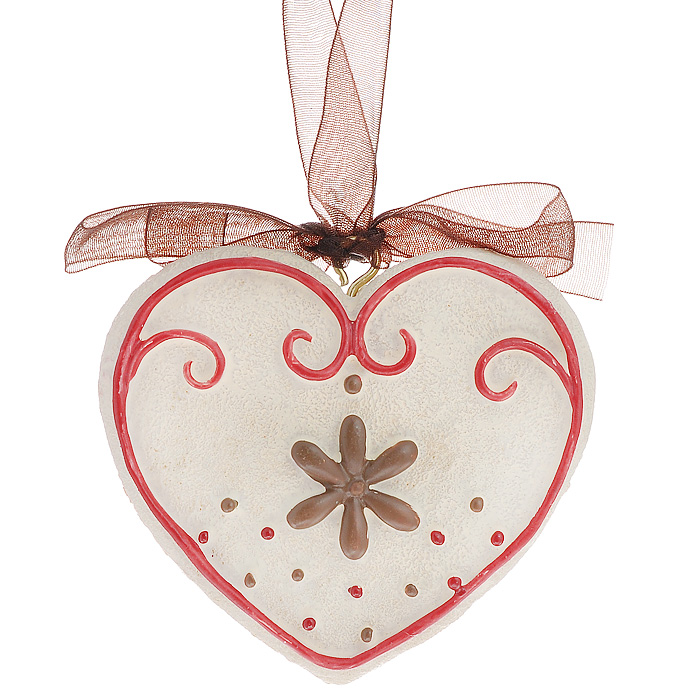 """Оригинальное новогоднее украшение выполнено из полирезины в виде сердечка. С помощью специальной ленты украшение можно повесить в любом понравившемся вам месте. Но, конечно же, удачнее всего такая игрушка будет смотреться на праздничной елке.    Новогодние украшения приносят в дом волшебство и ощущение праздника. Создайте в своем доме атмосферу веселья и радости, украшая всей семьей новогоднюю елку нарядными игрушками, которые будут из года в год накапливать теплоту воспоминаний.  Коллекция декоративных украшений из серии """"Magic Time"""" принесет в ваш дом ни с чем несравнимое ощущение волшебства! Характеристики:  Материал: полирезина, текстиль. Размер украшения: 6 см х 6,5 см х 1 см. Артикул: 25941."""