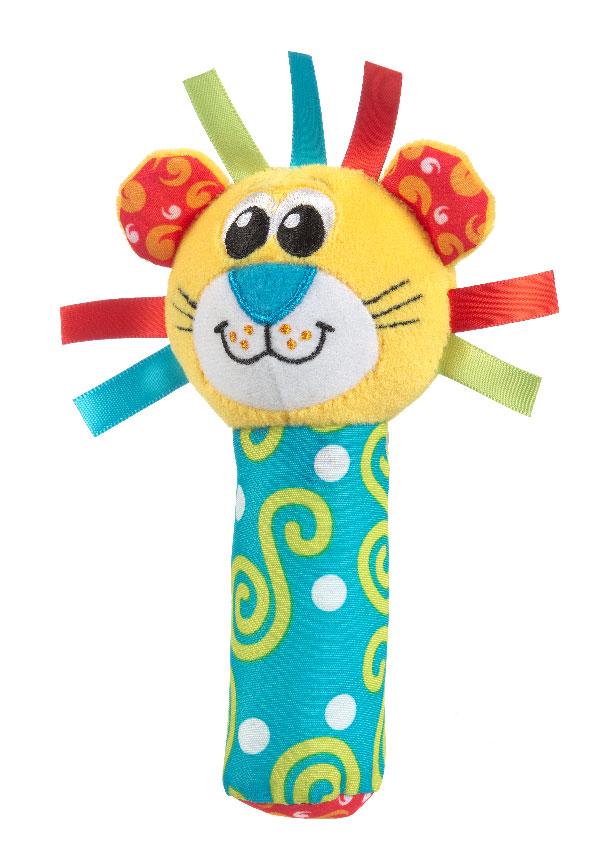 Игрушка-пищалка Playgro Лев, цвет: желтый, бирюзовый мягкие игрушки playgro playgro игрушка пищалка лев