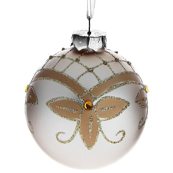 Новогоднее подвесное украшение Шар. 3051830518Изящное новогоднее украшение выполнено из стекла в виде шара, декорированного блестками и стразами. С помощью специальной петельки украшение можно повесить в любом понравившемся вам месте. Но, конечно, удачнее всего такая игрушка будет смотреться на праздничной елке.Новогодние украшения приносят в дом волшебство и ощущение праздника. Создайте в своем доме атмосферу веселья и радости, украшая всей семьей новогоднюю елку нарядными игрушками, которые будут из года в год накапливать теплоту воспоминаний. Коллекция декоративных украшений из серии Magic Time принесет в ваш дом ни с чем несравнимое ощущение волшебства! Характеристики:Материал: стекло, текстиль, блестки, стразы. Цвет: бежевый. Размер украшения: 7,5 см х 7,5 см х 8,5 см. Артикул: 30518.
