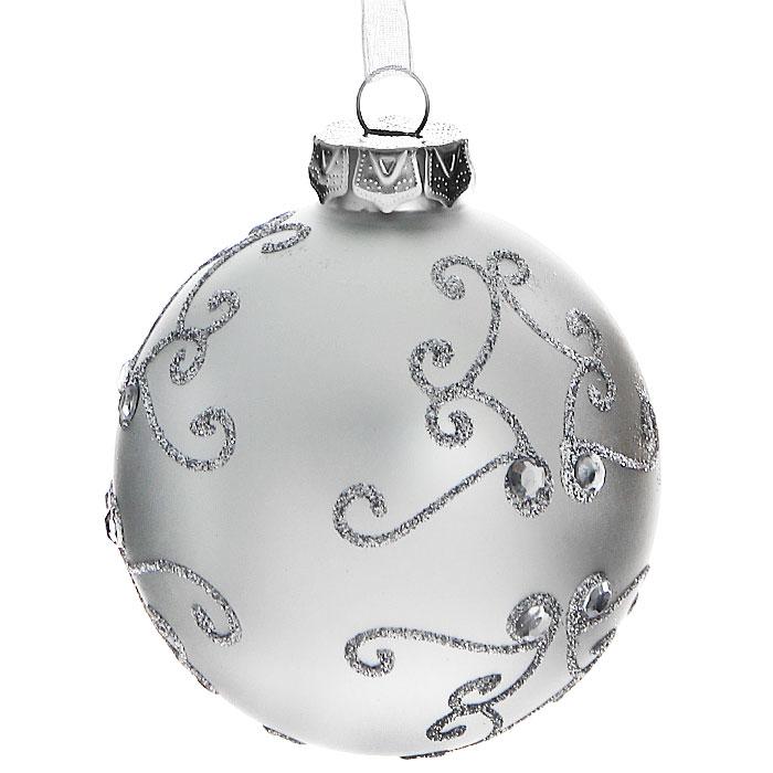 Новогоднее подвесное украшение Шар. 3052230522Изящное новогоднее украшение выполнено из стекла в виде шара, декорированного блестками и стразами. С помощью специальной петельки украшение можно повесить в любом понравившемся вам месте. Но, конечно, удачнее всего такая игрушка будет смотреться на праздничной елке.Новогодние украшения приносят в дом волшебство и ощущение праздника. Создайте в своем доме атмосферу веселья и радости, украшая всей семьей новогоднюю елку нарядными игрушками, которые будут из года в год накапливать теплоту воспоминаний. Коллекция декоративных украшений из серии Magic Time принесет в ваш дом ни с чем несравнимое ощущение волшебства! Характеристики:Материал: стекло, текстиль, блестки, стразы. Цвет: серебристый. Размер украшения: 7,5 см х 7,5 см х 8,5 см. Артикул: 30522.