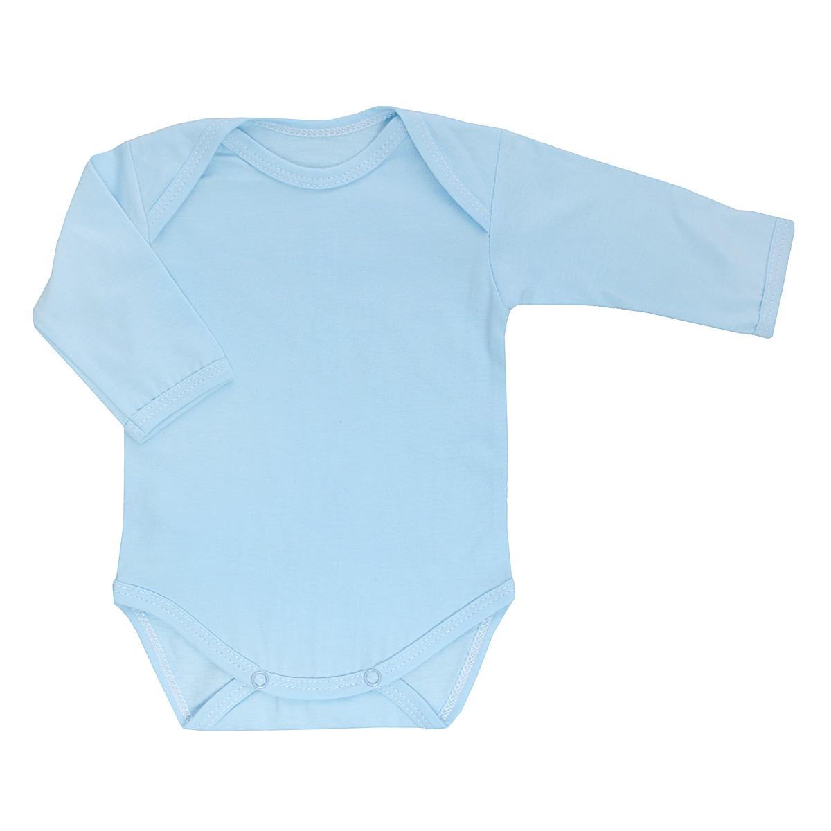 Боди детское Трон-Плюс, цвет: голубой. 5861. Размер 74, 9 месяцев5861Детское боди Трон-плюс с длинными рукавами послужит идеальным дополнением к гардеробу вашего ребенка, обеспечивая ему наибольший комфорт. Боди изготовлено из кулирного полотна -натурального хлопка, благодаря чему оно необычайно мягкое и легкое, не раздражает нежную кожу ребенка и хорошо вентилируется, а эластичные швы приятны телу младенца и не препятствуют его движениям. Удобные запахи на плечах и кнопки на ластовице помогают легко переодеть младенца или сменить подгузник. Боди полностью соответствует особенностям жизни ребенка в ранний период, не стесняя и не ограничивая его в движениях. В нем ваш ребенок всегда будет в центре внимания.