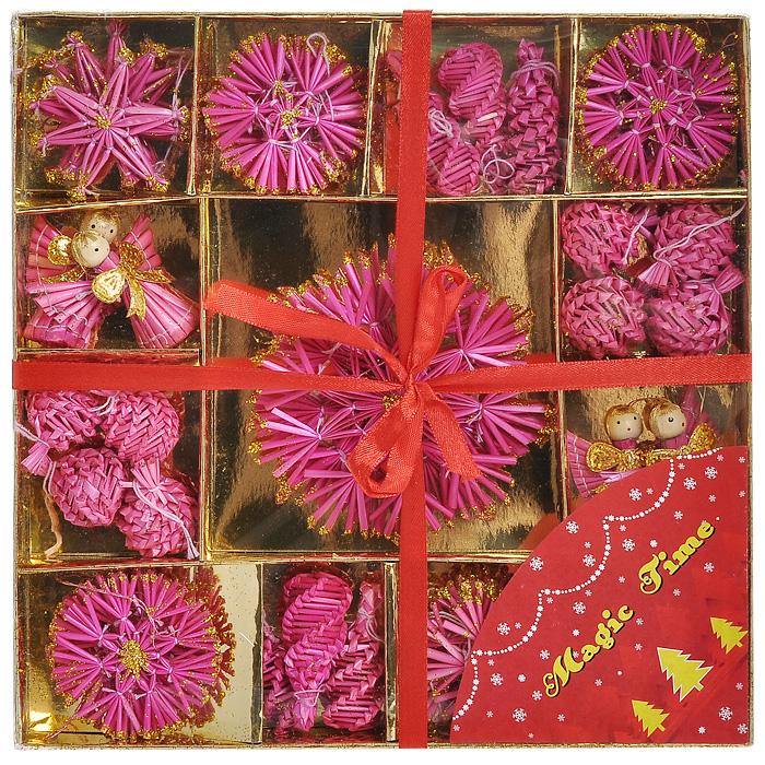 Набор подвесных новогодних украшений Magic Time, цвет: розовый, 48 шт. 2522825228Набор новогодних украшений из натуральной соломки, покрытой краской и декорированной глиттером, идеально дополнит праздничное убранство вашей елки. Комплект включает в себя 48 украшений: снежинки, звезды, шишки, шарики и фигурки ангелов.Украшения из натуральной соломы сейчас находятся на пике моды. Но мало кто знает, что на самом деле модное веяние является ничем иным, как хорошо забытым атрибутом рождественских праздников стран раннехристианской Европы. Солома напоминала о яслях, в которых лежал младенец Иисус; из нее мастерили праздничных куколок, короны, пирамиды и просто рассыпали по полу. Вы можете преподнести этот милый подарок с наилучшими пожеланиями счастья в предстоящем году.Новогодние украшения всегда несут в себе волшебство и красоту праздника. Создайте в своем доме атмосферу тепла, веселья и радости, украшая его всей семьей. Характеристики:Материал: солома. Диаметр большой снежинки: 11 см. Диаметр малой снежинки: 6 см. Высота ангела: 5,5 см. Размер звезды: 6 см х 6 см. Высота шишки: 5,5 см. Диаметр шара: 3 см. Размер упаковки: 26 см х 26 см х 3 см. Комплектация: 48 шт. Изготовитель: Китай. Артикул: 25228.