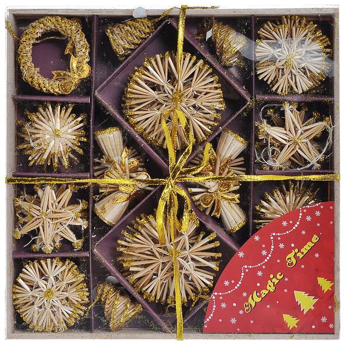 Набор новогодних подвесных украшений Magic Time, 56 предметов. 2521525215Набор новогодних подвесных украшений Magic Time изготовленный из натуральной соломки, покрытой лаком и декорированной глиттером, украсит интерьер вашего дома или офиса в преддверии Нового года. Оригинальный дизайн и красочное исполнение создадут праздничное настроение. Набор состоит из фигурок звезд, снежинок, ангелов, колец и шишек.Коллекция декоративных украшений из серии Magic Time принесет в ваш дом ни с чем несравнимое ощущение волшебства!Новогодние украшения всегда несут в себе волшебство и красоту праздника. Создайте в своем доме атмосферу тепла, веселья и радости, украшая его всей семьей. Характеристики:Материал:солома, глиттер, пластик, текстиль. Цвет:золотистый, бежевый. Средний размер украшения: 6 см х 6 см. Размер упаковки: 27 см х 27 см х 3 см. Изготовитель: Китай. Артикул: 25215.