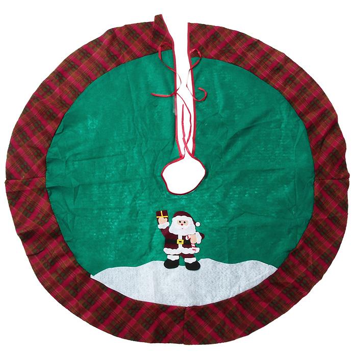 Новогоднее украшение Юбка для ели. 3209532095Новогоднее украшение Юбка для ели выполнено из синтетического фетра и текстиля. Украшение представляет собой юбку зеленого цвета с клетчатой вставкой по краю. Юбка украшена аппликациями и предназначена для декорирования праздничной ели. Также с помощью данной юбки вы сможете изящно задрапировать основание ели. Удобные завязочки позволят быстро и комфортно украсить вашу ель. Новогодние украшения приносят в дом волшебство и ощущение праздника. Создайте в своем доме атмосферу веселья и радости с таким оригинальным новогодним украшением. Характеристики:Материал: синтетический фетр, текстиль. Цвет: зеленый. Диаметр юбки: 100 см. Артикул: 32095.