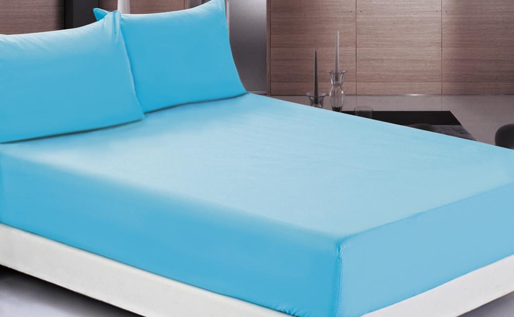 Простыня OL-Tex Джерси, на резинке, цвет: голубой, 200 х 200 х 20 смПТР-200