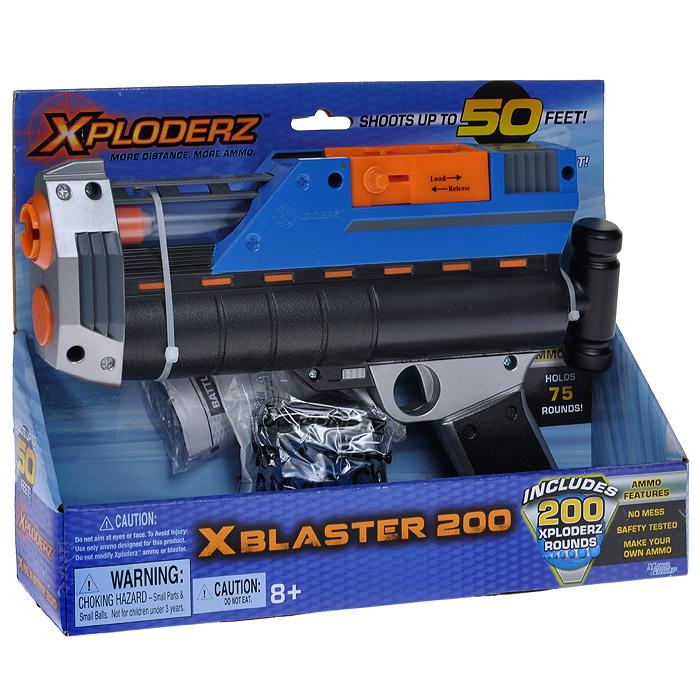 Бластер  XPloderz X 200, с пульками, цвет: черный, синий, оранжевый, серебристый игрушечное оружие xploderz x буря 1000