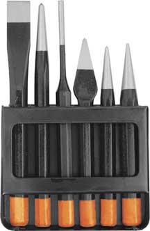 Набор пробойников FIT, 6 шт46860Набор пробойников FIT используется для разметки и пробивки отверстий различной формы. Для профессионального использования. В состав набора входит: Центрирующий керн 3х120 мм; Конусный пробойник 2х120 мм; Крейцмейсель 6х127 мм; Штырьковый керн 4х152 мм; Центрирующий керн 4х152 мм; Слесарное зубило 16х152 мм; Металлический кейс. Характеристики: Материал: металл. Размеры кейса: 17 см х 10 см х 2 см. Размеры упаковки: 17 см х 10 см х 2 см.