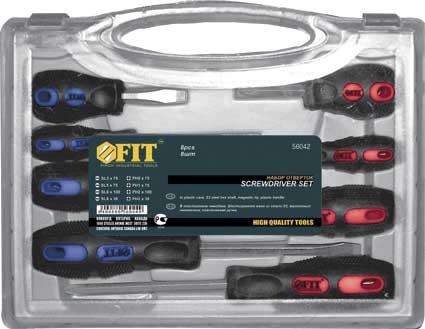 Набор отверток FIT, 8 предметов. 5604256042Набор отверток FIT состоит из 8 инструментов. Применяется для закручивания и выкручивания болтов и саморезов. Стержни выполнены из хром-ванадиевой стали с магнитными наконечниками. Рукоятки эргономичной формы не скользят в руке.В набор входят: Отвертки с крестовым жалом: PH0 x 75 мм; PH1 x 75 мм; PH2 x 100 мм; PH2 x 38 мм. Отвертки с плоским жалом: SL3 x 75 мм; SL5 x 75 мм; SL6 x 100 мм; SL6 x 38 мм. Пластиковый кейс. Характеристики: Материал:сталь, пластик, резина. Размер упаковки: 32 см x 20 см x 4,5 см.
