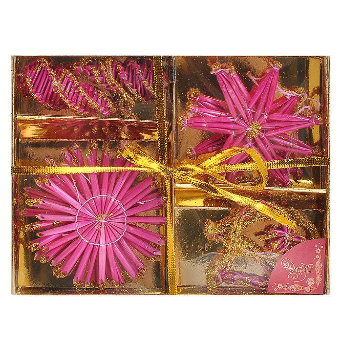 Набор новогодних подвесных украшений Звездочки и снежинки, цвет: розовый, 10 шт30827Оригинальный новогодний набор «Звездочки и снежинки» прекрасно подойдет для декора дома и праздничной елки. Набор состоит из 10 подвесных украшений, выполненных из натуральной соломы в виде звездочек, снежинок, сердечек и шишечек. Предметы набора покрыты розовой краской и оформлены блестками золотистого цвета. С помощью специальных петелек украшения можно повесить в любом понравившемся вам месте. Но, конечно, удачнее всего такие игрушки будут смотреться на праздничной елке. Украшения из натуральной соломы сейчас находятся на пике моды. Но мало кто знает, что, на самом деле, модное веяние является ничем иным, как хорошо забытым атрибутом рождественских праздников стран раннехристианской Европы. Солома напоминала о яслях, в которых лежал младенец Иисус. Из нее мастерили праздничных куколок, короны, пирамиды и просто рассыпали по полу. Новогодние украшения приносят в дом волшебство и ощущение праздника. Создайте в своем доме атмосферу веселья и радости, украшая всей семьей новогоднюю елку нарядными игрушками, которые будут из года в год накапливать теплоту воспоминаний. Коллекция декоративных украшений из серии Magic Time принесет в ваш дом ни с чем несравнимое ощущение волшебства! Набор упакован в картонную коробку, перевязанную золотистой лентой. Характеристики:Материал: натуральная солома, текстиль, блестки. Цвет: розовый. Комплектация: 10 шт. Диаметр снежинки: 7,5 см. Размер звездочки: 6 см х 8 см. Высота шишечки: 6,5 см. Размер сердечка: 5 см х 6 см. Размер упаковки: 13 см х 17 см х 2,5 см. Артикул: 30827.