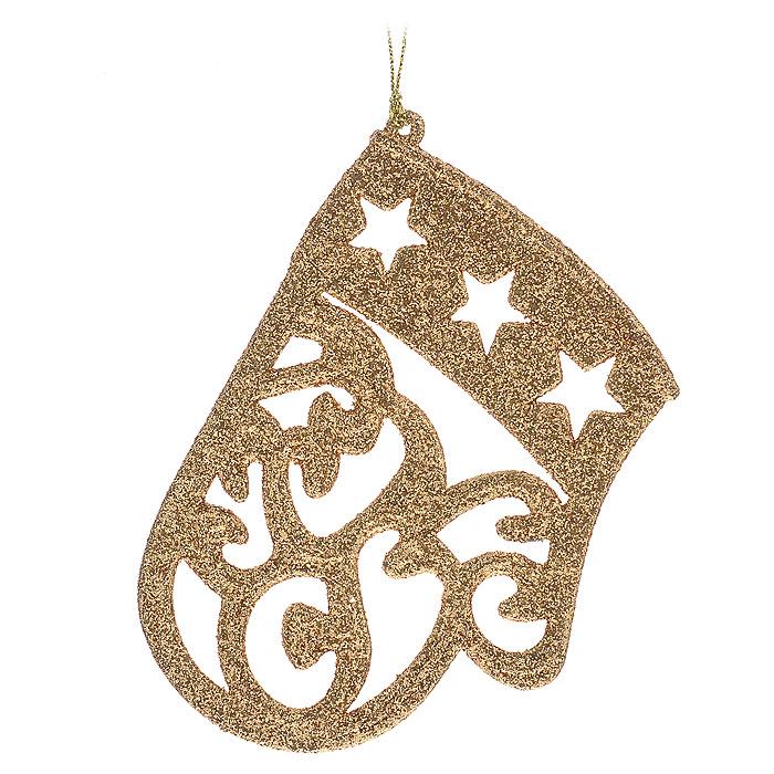 Новогоднее подвесное украшение Варежка. 3062630626Изящное новогоднее украшение Варежка выполнено из пластика, покрытого золотистыми блестками. С помощью специальной петельки украшение можно повесить в любом понравившемся вам месте. Но, конечно, удачнее всего такая игрушка будет смотреться на праздничной елке.Новогодние украшения приносят в дом волшебство и ощущение праздника. Создайте в своем доме атмосферу веселья и радости, украшая всей семьей новогоднюю елку нарядными игрушками, которые будут из года в год накапливать теплоту воспоминаний. Характеристики:Материал: пластик, блестки. Цвет: золотистый. Размер украшения: 8 см х 11,5 см х 0,4 см. Артикул: 30626.
