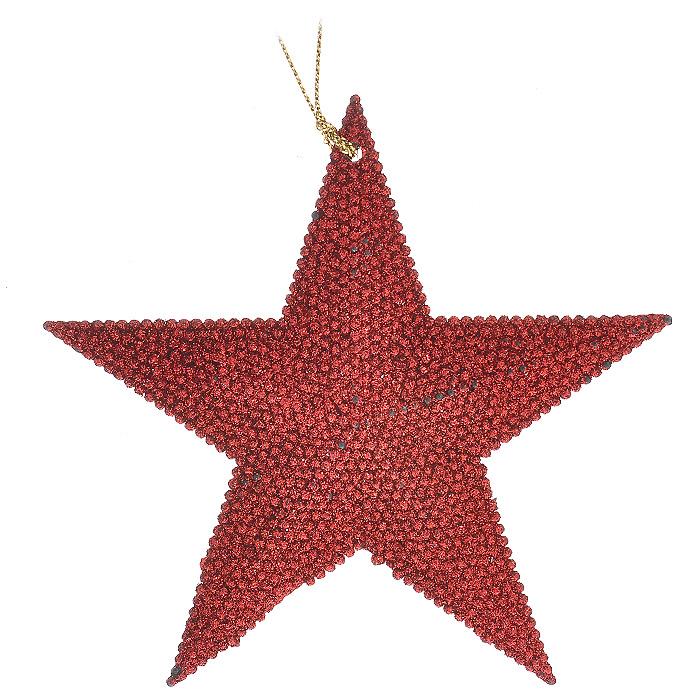 Новогоднее подвесное украшение Звезда. 3059430594Новогоднее подвесное украшение Звезда, выполненное из пластика и усыпанное красными блестками, украсит интерьер вашего дома или офиса в преддверии Нового года. С помощью специальной петельки украшение можно повесить в любом понравившемся вам месте. Но, конечно, удачнее всего такая игрушка будет смотреться на праздничной елке. Оригинальный дизайн и красочное исполнение создадут праздничное настроение. Новогодние украшения всегда несут в себе волшебство и красоту праздника. Создайте в своем доме атмосферу тепла, веселья и радости, украшая его всей семьей. Характеристики:Материал:пластик, текстиль, блестки. Цвет:красный. Размер украшения:11 см х 11 см х 0,4 см. Артикул:30594.