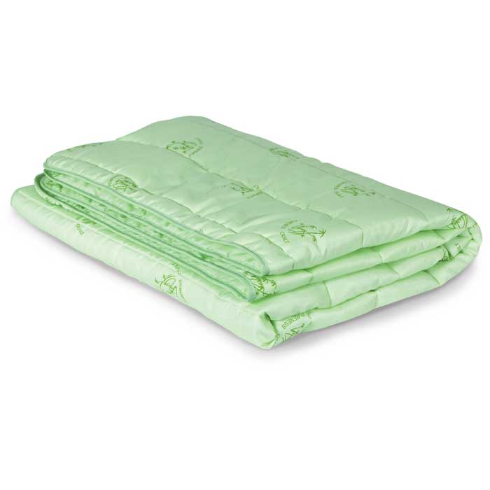 """Стеганый чехол облегченного одеяла Miotex """"Бамбук"""" выполнен из полиэстера зеленого цвета рисунком в виде веточек бамбука.  Наполнитель - волокно на основе бамбука.  Одеяло обладает всеми полезными свойствами бамбукового волокна - не накапливает пыль и запахи,  совершенно антиаллергенно. Не теряет своих качеств при многократных стирках. Стежка равномерно удержит наполнитель в чехле, а окантовка  держит форму изделия. Легкое летнее одеяло, за которым легко ухаживать.    Рекомендации по уходу: - Не гладить. Не применять обработку паром. - Химчистка в щадящем режиме. - Нельзя выжимать и сушить в стиральной машине. Характеристики:   Материал чехла: 100% полиэстер. Наполнитель: 100% полиэстер. Плотность: 150 г/м. Размер одеяла: 140 см х 205 см. Размер  упаковки: 52 см х 52 см х 4 см. Артикул: МБПЭ-15-1,5.  УВАЖАЕМЫЕ КЛИЕНТЫ!  Обращаем ваше внимание на ассортимент в цветовом дизайне товара. Поставка осуществляется в зависимости от наличия на складе."""