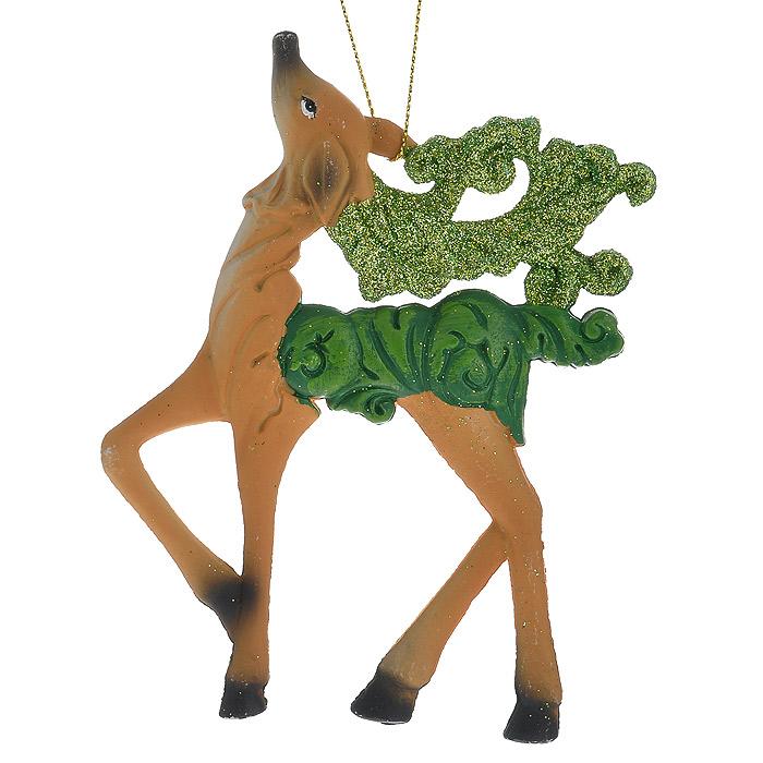 Новогоднее подвесное украшение Олень, цвет: бежевый. 2587325873Оригинальное новогоднее украшение «Олень» прекрасно подойдет для праздничного декора дома и новогодней ели. Украшение выполнено из пластика и оформлено зелеными блестками. С помощью специальной петельки его можно повесить в любом понравившемся вам месте. Но, конечно, удачнее всего такая игрушка будет смотреться на праздничной елке.Елочная игрушка - символ Нового года. Она несет в себе волшебство и красоту праздника. Создайте в своем доме атмосферу веселья и радости, украшая новогоднюю елку нарядными игрушками, которые будут из года в год накапливать теплоту воспоминаний. Коллекция декоративных украшений из серии Magic Time принесет в ваш дом ни с чем несравнимое ощущение волшебства! Характеристики:Материал: пластик, блестки, текстиль. Цвет: бежевый. Размер украшения: 9 см х 12,5 см. Артикул: 25873.