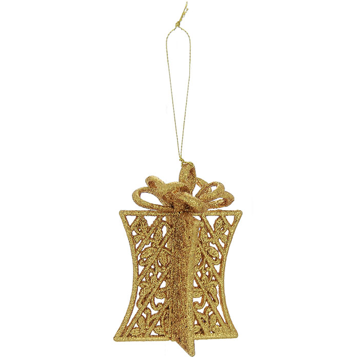 Новогоднее подвесное украшение Подарок, цвет: золотистый. 2605626056Оригинальное новогоднее украшение выполнено из пластика в виде подарка, украшенного золотистыми блестками. С помощью специальной петельки украшение можно повесить в любом понравившемся вам месте. Но, конечно же, удачнее всего такая игрушка будет смотреться на праздничной елке.Новогодние украшения приносят в дом волшебство и ощущение праздника. Создайте в своем доме атмосферу веселья и радости, украшая всей семьей новогоднюю елку нарядными игрушками, которые будут из года в год накапливать теплоту воспоминаний. Коллекция декоративных украшений из серии Magic Timeпринесет в ваш дом ни с чем несравнимое ощущение волшебства! Характеристики:Материал: пластик, текстиль. Цвет: золотистый. Размер украшения: 5,5 см х 4,5 см х 10 см. Артикул: 26056.