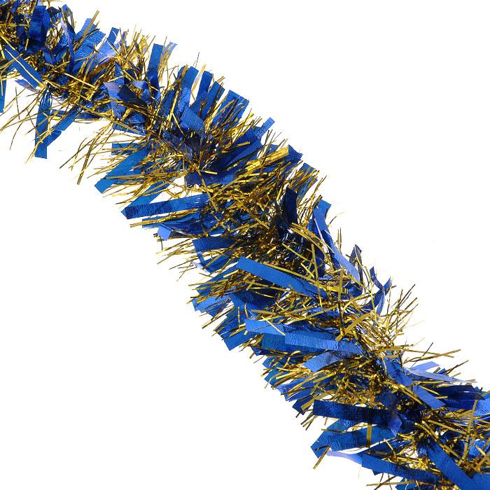Новогодняя мишура Magic Time, диаметр 9 см, длина 200 см, цвет: синий, золотистый. 2694626946Пушистая новогодняя мишура Magic Time, выполненная из ПВХ, поможет вам реализовать самые экстравагантные дизайнерские идеи, украсив стены, потолок, архитектурные элементы, проемы окон и дверей. Мишура армирована, то есть имеет проволоку внутри и способна сохранять приданную ей форму. Она способна отразить блеск огней елочных гирлянд и добавить волшебства в праздничный интерьер квартиры. Создайте в своем доме атмосферу тепла, веселья и радости, украшая его всей семьей.Коллекция декоративных украшений из серии Magic Time принесет в ваш дом ни с чем несравнимое ощущение волшебства! Характеристики:Материал: ПВХ. Цвет: синий, золотистый. Длина: 200 см. Диаметр: 9 см. Артикул: 26946.